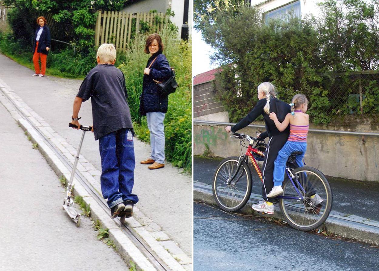 Два фото де діти користуються підйомниками для велосипедистів